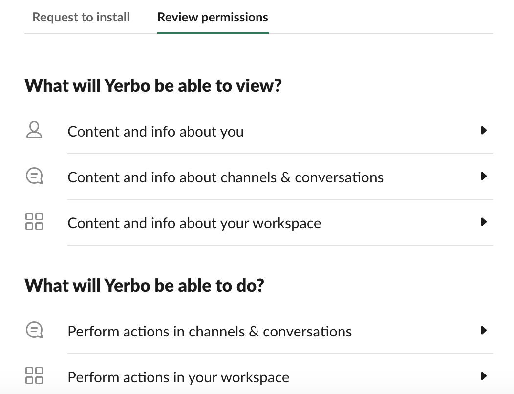 Yerbo Slack app requirements